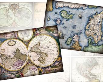 Antique vintage World maps 2.5 x 3.5 inch digital collage sheet Scrapbooking Ephemera  (330) Buy 3 - get 1 free