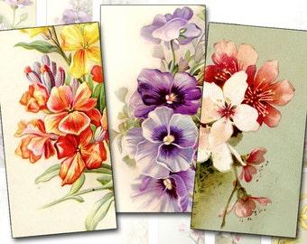 Vintage flowers digital collage sheet domino tile 1x2 inch rectangles Download (336) Buy 3 - get 1 bonus