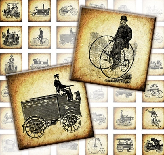 Vintage transportation automobiles and bicycles digital collage sheet  1x1 inches  (106) Buy 3 - get 1 bonus