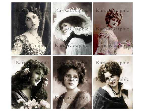 Vintage Victorian and Edwardian ladies 3x4 inches digital collage sheet Vol.2 Scrapbooking Gift tag's Card Making (287) Buy 3 - get 1 bonus