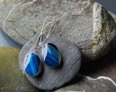 blue white agate beautiful earrings, stone agate dangle earrings birthstone beadwork cluster drop hoop earrings