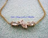Vintage 14 Kt Gold CZ Diamond Necklace