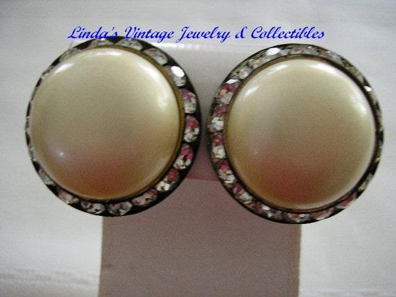 Vintage Pearl Rhinestone Clip Earrings