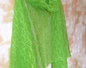 Lime Green Linen Sheer Scarf / Shawl / Wrap / Stole