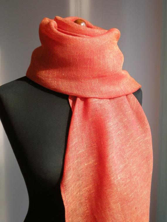 SALE Tangerine Red Linen  Scarf / Wrap / Shawl