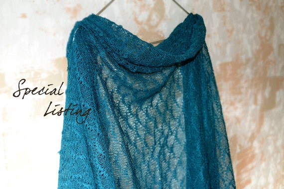 Special listing for anastasia shumba Teal Blue Linen Scarf / Shawl / Wrap / Stole
