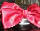 Red Satin Bow Tie Faux Tie