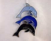 Blue Glass Dolphins Sun Catcher