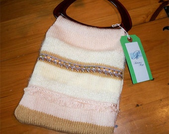 Tote Bag, Hand Knitted, Satin Lined, Special Occasions bag- HALF PRICE
