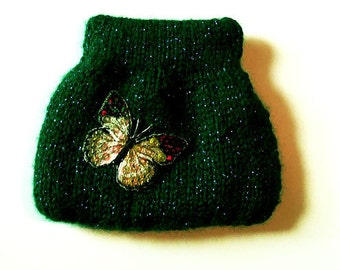 Hand Knitted coin purse, Squeeze Frame Coin Purse, green, butterfly applique