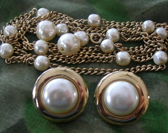 VTG Dainty Gold Tone Rope & Faux Pearl SARAH COV Necklace and Earrings