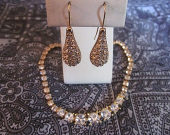 Vintage BLING Necklace & Earrings