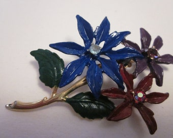 VTG Wild Flowers Enamel Brooch