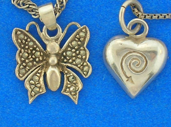 2 Vintage Sterling Silver Necklaces Butterfly and Heart