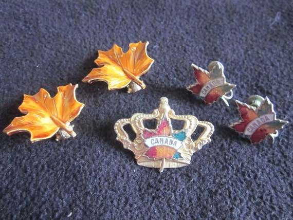 Oh Canada...Vintage Brooch & Clip On Earrings