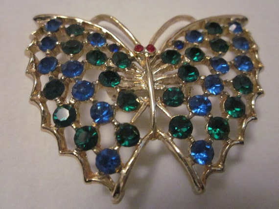 Float Like a Butterfly Vintage Rhinestone Brooch
