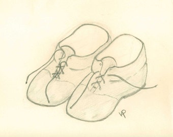 a  print of original drawing in pencil by Virginia Proffit Crane babys first shoes