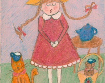 Print of  Original sketch in colored pencil by Virginia Crane tea time with pets