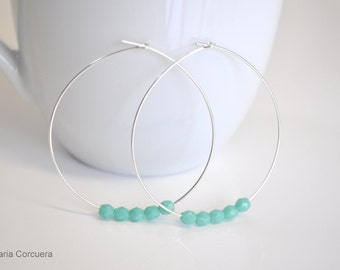 Sterling Silver earring hoops with Turquoise glass