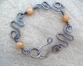 Freeform Copper Bracelet Wire Wrapped Copper Jewelry Honey Gold