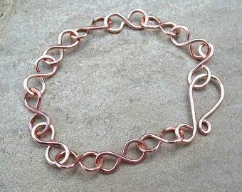 Copper Chain Bracelet, Bright Finish, Hammered Copper Jewelry, Under 20