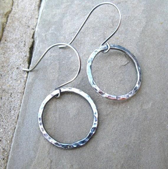 Silver Hoop Earrings Fine Silver Hammered Hoops Handmade Jewelry Dangle Earrings