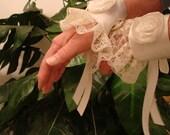 Ivory Satin and Lace Wrist Cuffs