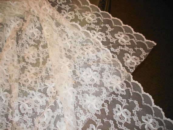 BTY Vintage White Chantilly Lace Fabric Scalloped Edges Reserved for Brenda