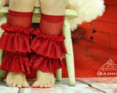 Red lace legwarmers with Extra Large Ruffles