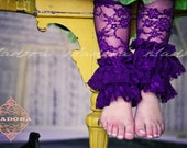 Double Ruffle Lace Legwarmers in Purple
