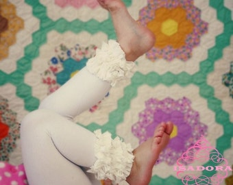 White ruffled footless tights
