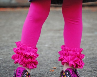 Hot Pink Ruffle footless tights