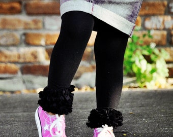 Black Ruffle Footless tights