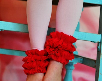 Pink footless tights with Red Ruffles