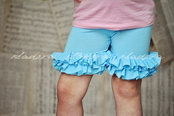Girls Ruffle Shorts in light blue