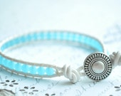 Sea glass Bracelet--  Single wrap white leather bracelet with sea blue and metal button closure
