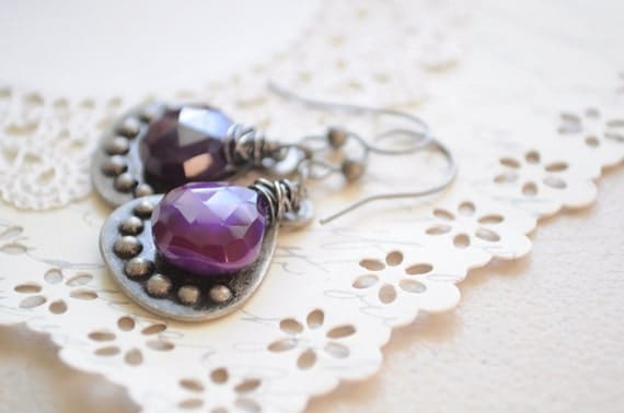 SALE- Queen Dot Royalty- Purple Chalcedony Earrings