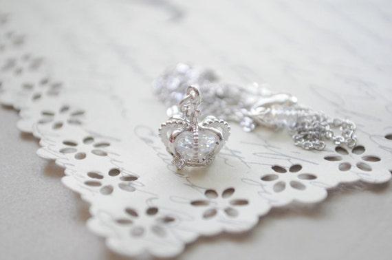 SaLE--Princess Necklace-  Bright silver crown and swarovski crystal necklace