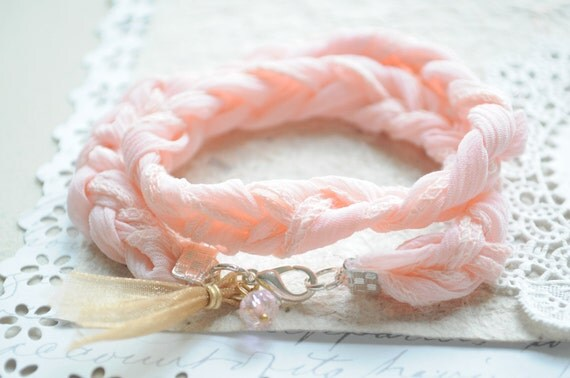 RESERVED for LEE ANN-- Beach Bracelet No.4 -- Soft Pink Braided lace cord and ribbon tassel with czech glass