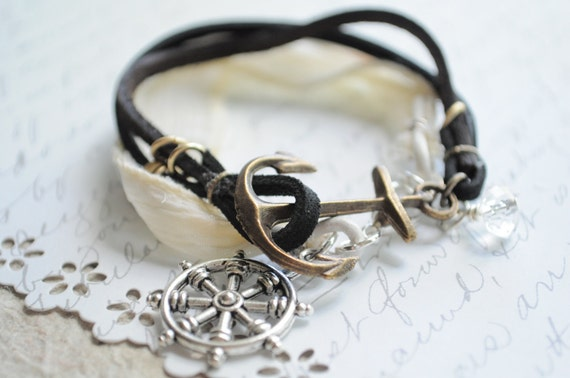 Summer Bracelet No.40-- The White Bracelet-- soft mesh, tan and white leather cord with silver wheel charm