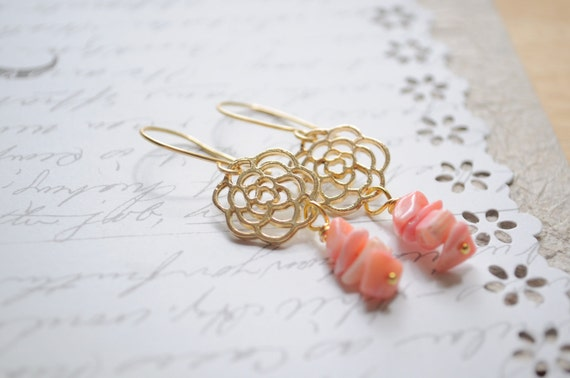 Rose coral Earrings-  Beach earrings  Coral shards paired with gold filigree flowers