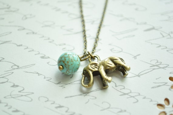 SALE- My Lucky Elephant Necklace-  Antiqued bronze chain and elephant charm with a speckled jade  bead