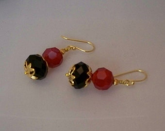 Gold with Red and Black Earrings