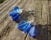 The Sky is the limit silver earrings glass beads sapphire blue dangle lightweight