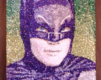 "Adam West BATMAN- glitter Art- 9""x12"""