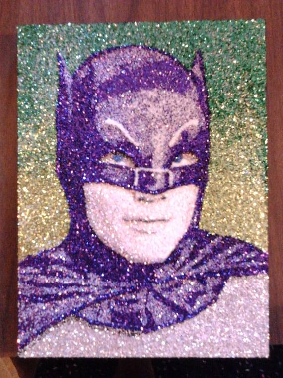 """Adam West BATMAN- glitter Art- 9""""x12"""""""