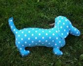 Plush  Dachshund/  Blue Polka Dot Chloe