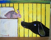 Dachshund/Rabbit ACEO Original - Be My Friend