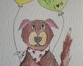 "Dog Art ACEO Original Watercolor - ""Best Friends"""