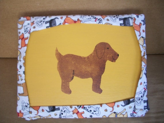 Lap Desk with Cute Painted Puppy and Dog Fabric